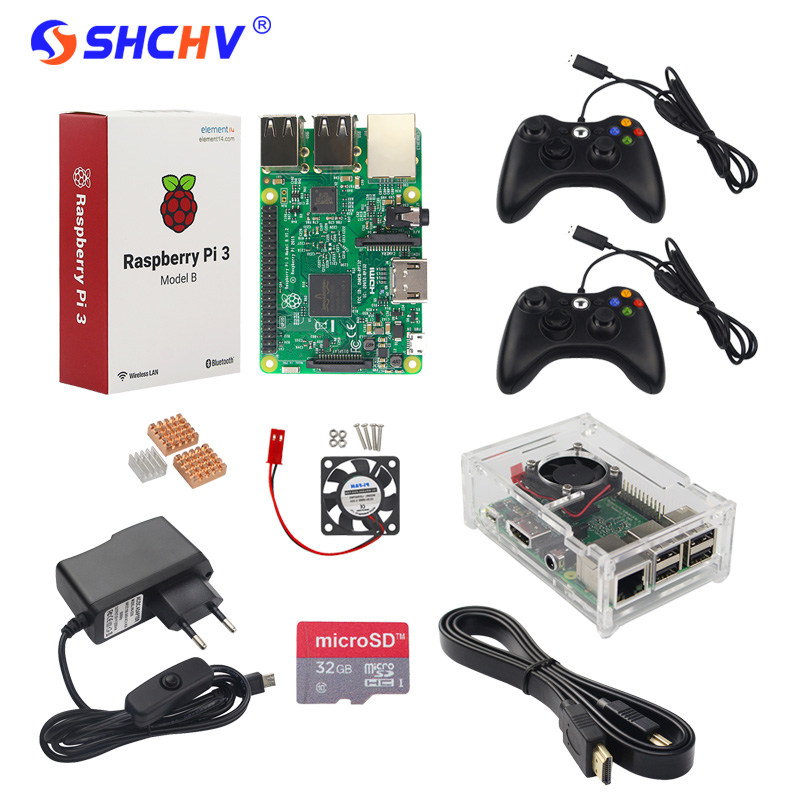 Raspberry Pi 3 + 2 Game Controller + 32GB SD Card +Power Adapter +Acrylic Case + HDMI Cable +Heat Sink + Fan RPI 3 Game Kit acv pi 622