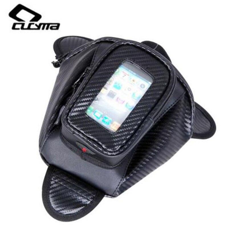 CUCYMA Motorcycle Bag Tank Oil Fuel Magnet Motorbiker Oxford Waterproof GPS Saddle Bags Black