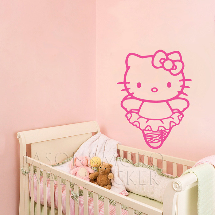 cartoon cute ballerina hello kitty vinyl wallpaper decal wall sticker for kids girly room. Black Bedroom Furniture Sets. Home Design Ideas