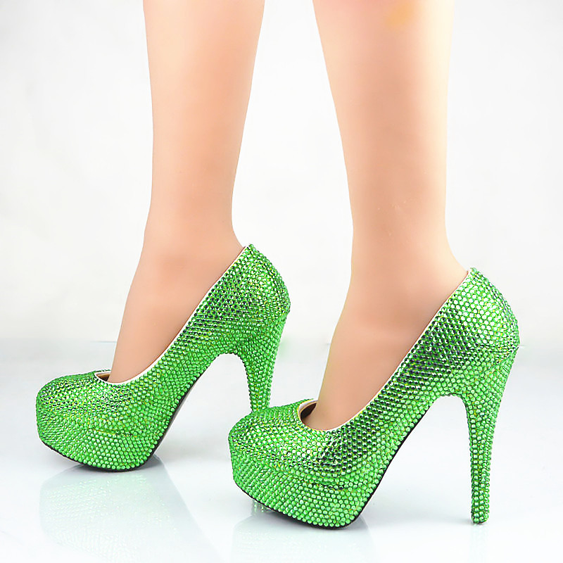 Green Rhinestones Women Wedding Shoes Slip On High Heels Sexy Beautiful Party Pumps Big Size 34-43 6003 zz p5 z2 motor bearings for high speed precision cnc machine tool bearings deep groove ball bearing seals