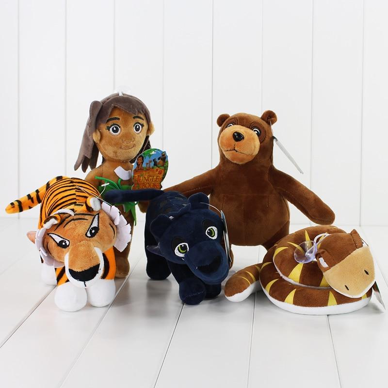5pcs/lot Mowgli Tiger Snake Bear Leopard Stuffed Soft Doll The Jungle Book Plush Toys Animal Pendants Toy