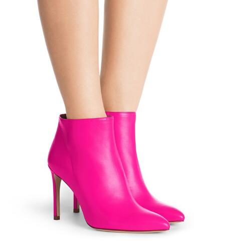 Red woman pointed toe high heel ankle boots Ladies rose red super high thin heel short boots Fashion boots high heel shoes fashion women boots black red round toe high heel ankle boots for women ladies platform super high thin heel short boots