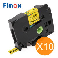 Fimax 10pcs Compatible Brother P touch Label Tape TZe631 TZe231 Black on Yellow for Brother P touch Label Printer Label Maker