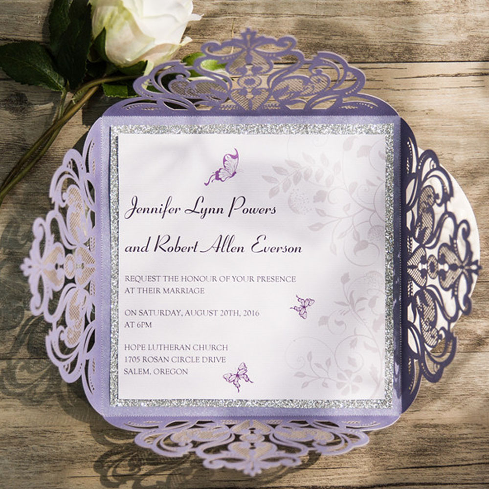 Lavender Laser Cut Wedding Invitations Card With RSVP and Envelope ...
