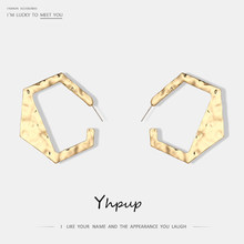 Yhpup Fashion T-Show Brand Gold Silver Hollow Geometric Charms Stud Earrings For Women Party Gift pendientes mujer moda 2018(China)