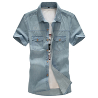 Summer Plus Size 4XL 5XL 6XL 7XL 8XL New Men's Denim Shirts Men Wear Loose Big Short Sleeves Cotton Shirt Men tops cotton