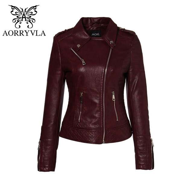 AORRYVLA 2020 New Fashion Women Leather Jacket Motorcycle PU Leather Coat Black Turn-Down Collar Short Zipper Slim Ladies Jacket