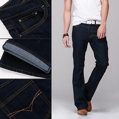 Men Classic Mid Rise Boot Cut Leg Slightly Flared Bell Bottom Jeans Denim Pants velvet boot cut bell bottom pants