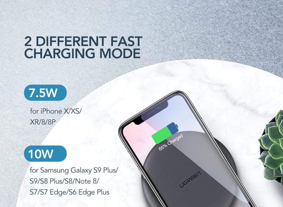 Ugreen Wireless Charger 10W 7.5W Qi Wireless Charging for xiaomi mi 9 iPhone X XS 8 XR Samsung S9 S8 Fast Phone Wireless Charger 4