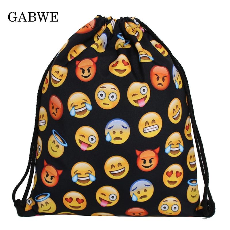 Functional Bags Luggage & Bags Gabwe 3d Printed Expression Pattern Drawstring Bags Travel Organizer Worek Plecak Sznurek Diversified Latest Designs