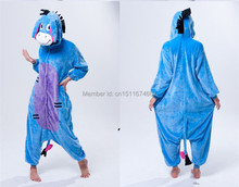 Soft Flannel Cartoon Anime Animal Onesie Pajama Eeyore Donkey Costume (Slipper Not Included) – Halloween Carnival Party Clothing