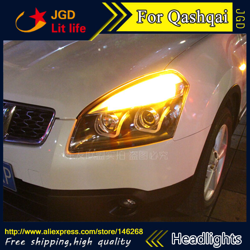 Free shipping ! Car styling LED HID Rio LED headlights Head Lamp case for Nissan QASHQAI 2008-2012 Bi-Xenon Lens low beam