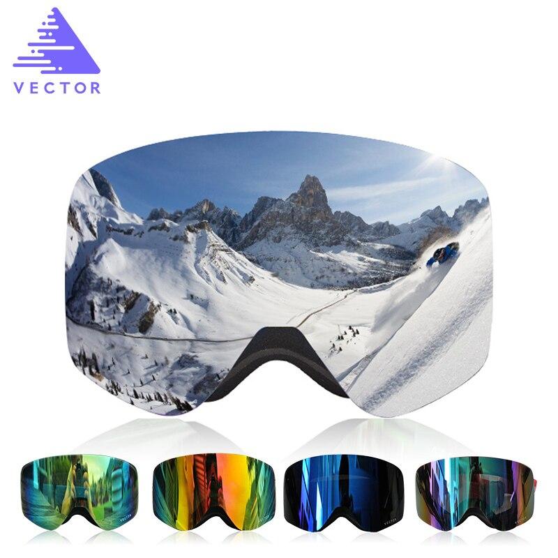 VECTEUR Marque Professionnel Ski Lunettes Hommes Femmes Anti-brouillard 2 Lentille UV400 Adulte Hiver Ski Lunettes Snowboard Lunettes de Neige ensemble