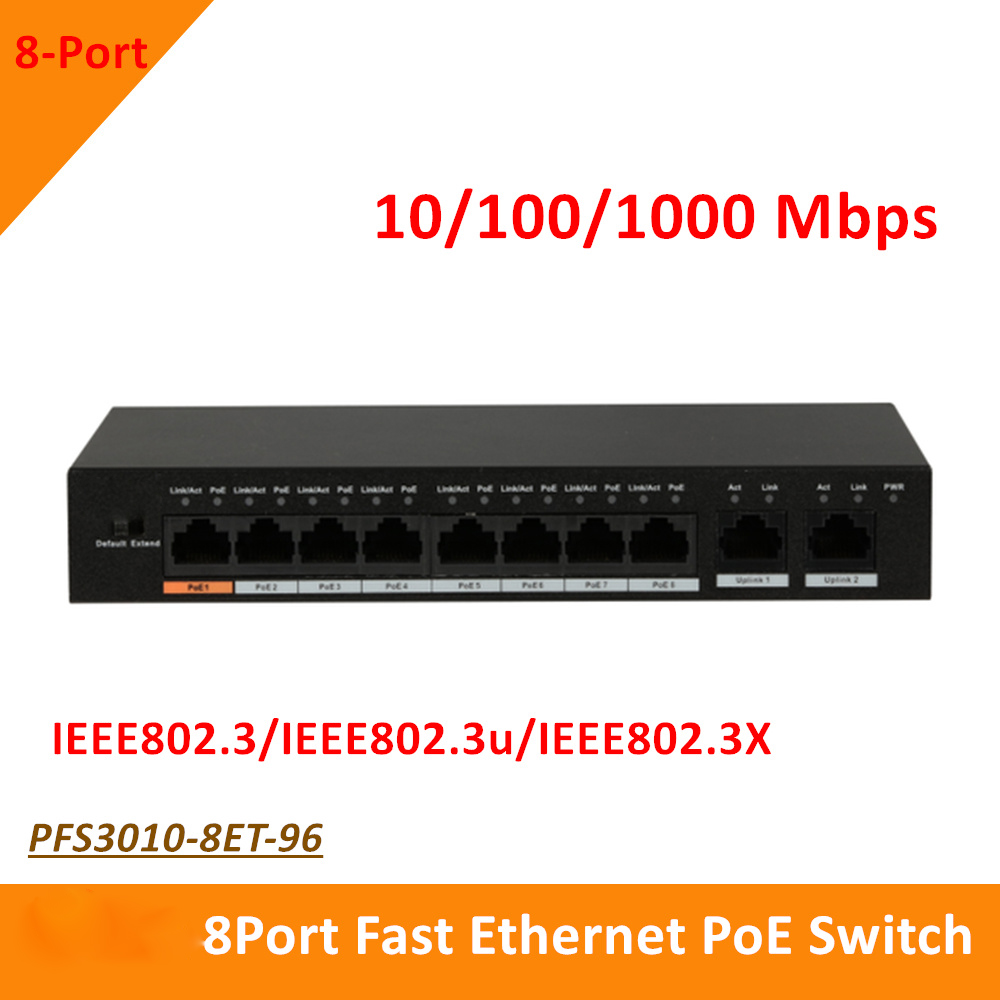 Original Export version Dahua 8 Port Fast Ethernet PoE Switch 10 100 1000 Mbps PFS3010 8ET
