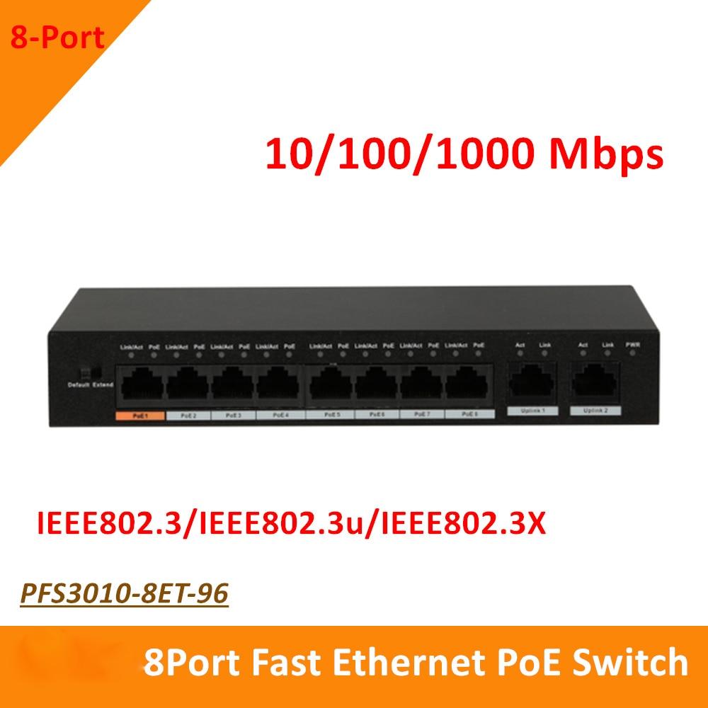 Original Export version DH 8 Port Fast Ethernet PoE Switch 10/100/1000 Mbps PFS3010-8ET-96 Supports MDI/MDIX DC 48-57V цена
