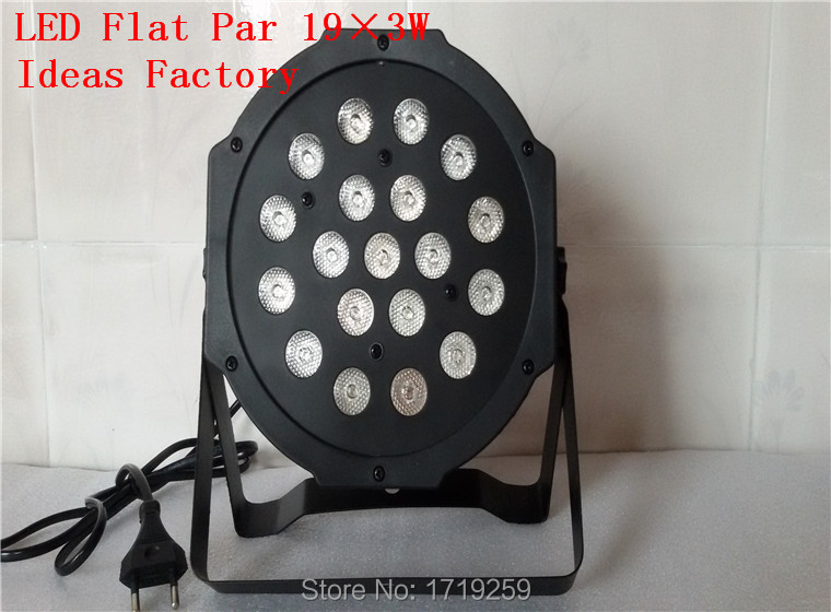 ФОТО 2017 Hot LED Par Light Whole Sale Price 19x3W RGB Wash Light DMX Flat Slim Par Can LED Lighting with 7 Channels