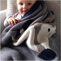 Baby Blankets Winter Newborn Swaddle Black Fox Rabbit  Muslin Blanket Soft   Knit Cartoon Bath Towels For Bed Sofa Play Mat Gift