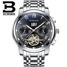 Switzerland Binger man Watches 2017 Tourbillon Clock Men Automatic Watch Skeleton Military Watch Mechanical Relogio Male