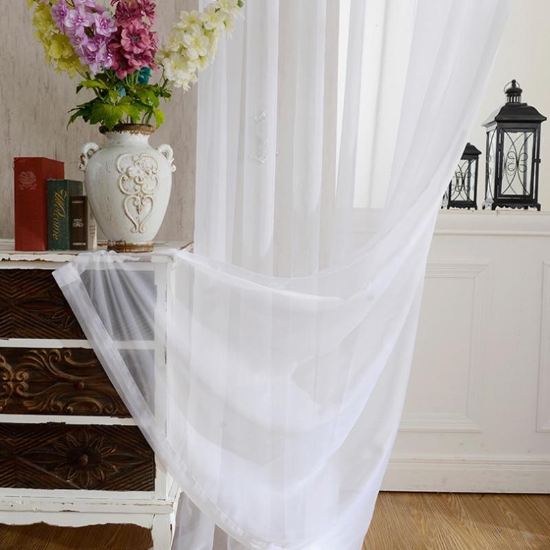 Cortinas de tule de cozinha transparentes, cortinas de decoração para janela branca transparente para sala de estar painel único b502