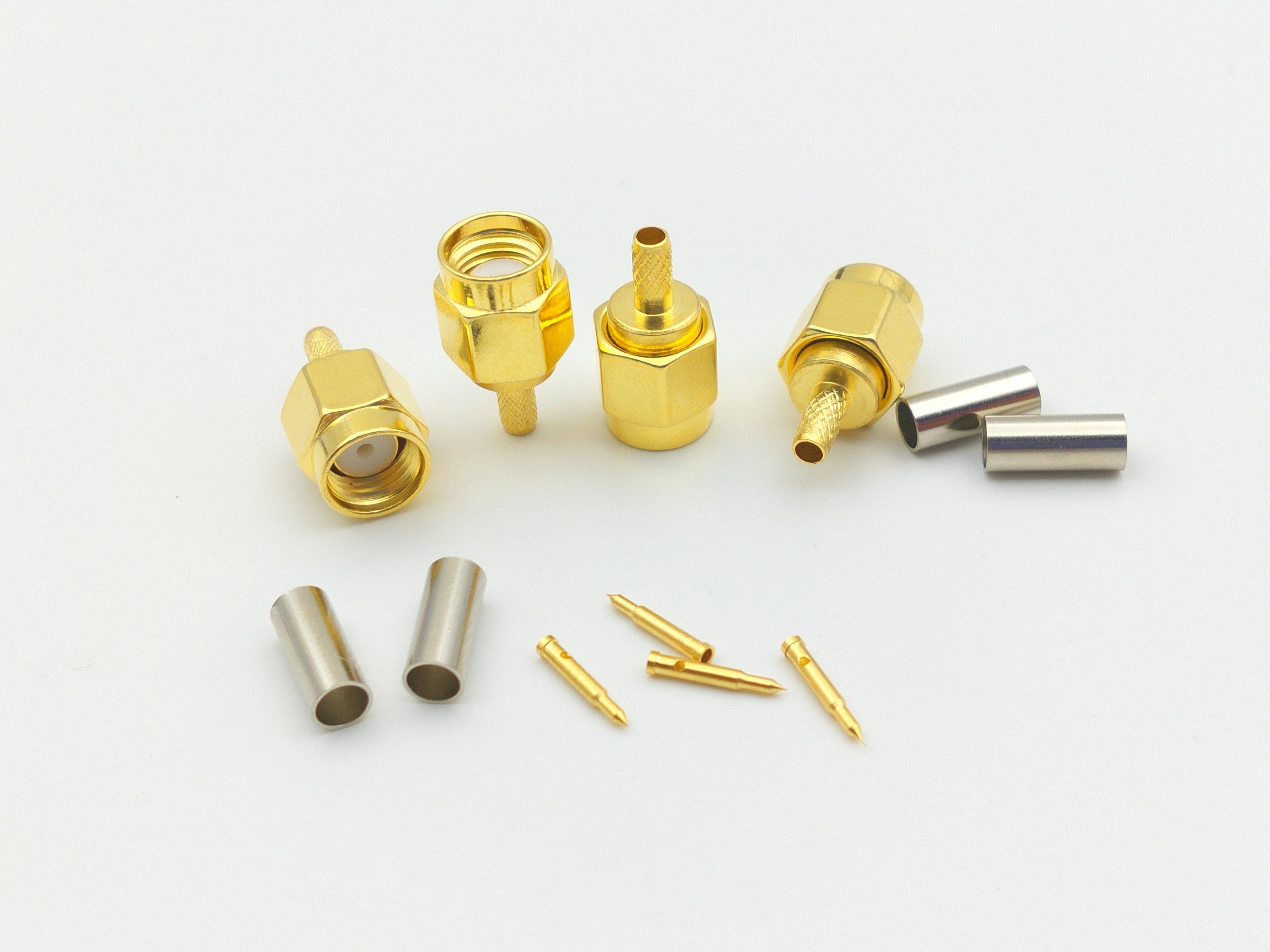200 pcs gold plated SMA male plug crimp RG174 RG316 LMR100 cable RF connectors