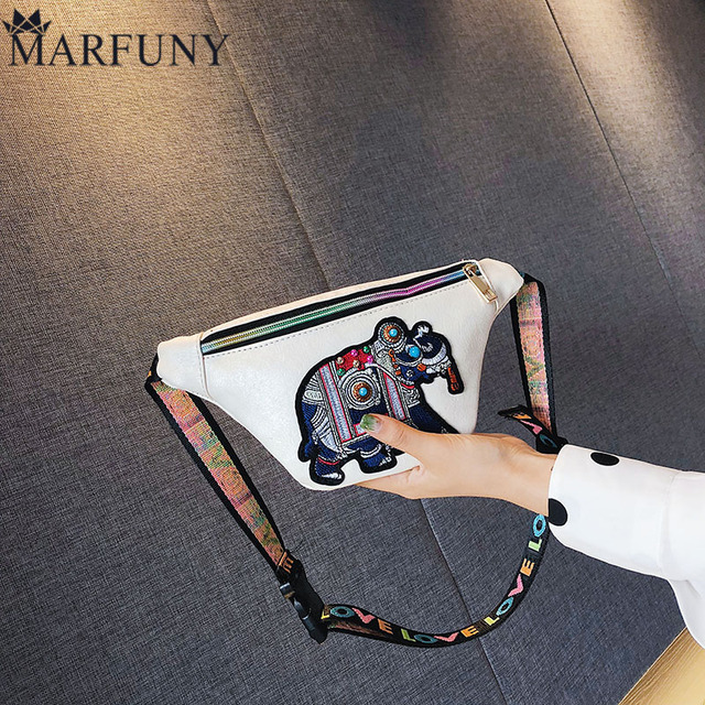 MARFUNY брендовые кожаные женские поясные сумки Мода Вышивка пояса сумка Женская поясная сумка для девочек хип сумки для женщин 2018 кошельки