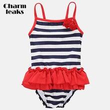 Charmleaks Baby Girls One Piece Swimsuits Stripe Printed Swimwear Kids lacework Bikini Cute Beach Wear