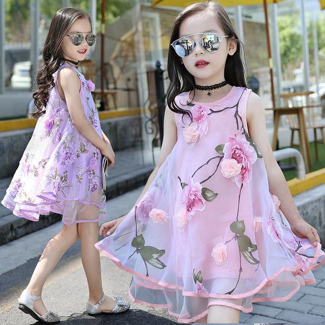 Flores de Organza Estampados sólida Vestido de Crianças Vestidos de Meninas de Verão 2016 Meninas Vestido de Festa Vestido de Verão Kid Vestido Sem Mangas Rosa Roxo