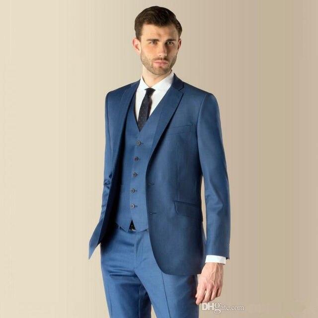2017 terno masculino New Slim Fit Notch Lapel Best Man Suit Blue ...
