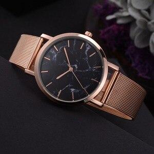 Relojes موهير 2019 أزياء جديد وصول المرأة العصرية ساعة كوارتز سبائك ساعة معصم ساعة حبوب الرخام مجوهرات هدية للنساء