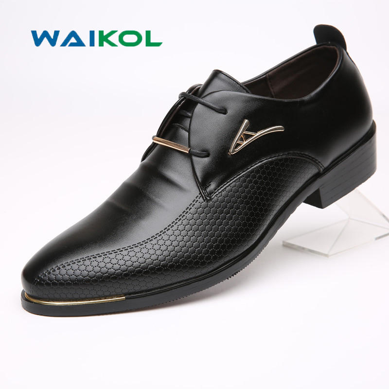 Waikol 30% OFF Brand Men Shoes Leather Lace-up Pointed Toe Breathable Wedding Business Oxfords Casual Men's Shoes for Male tba hot sale luxury brand men s office career business breathable casual winter and autumn male lace up pointed toe flats shoes