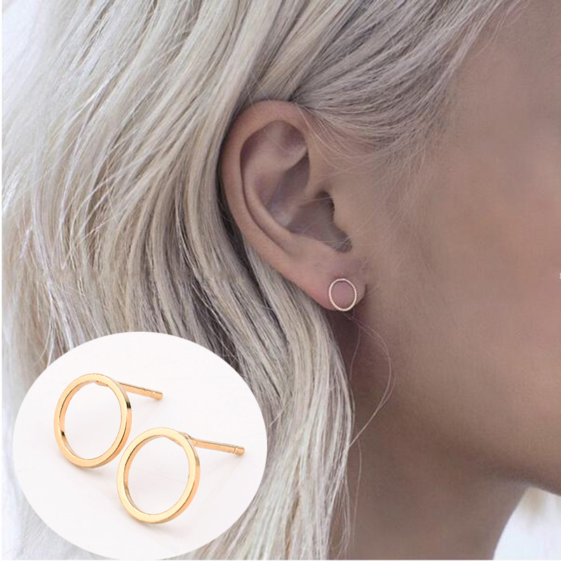 2 Pair Summer Style New Fashion Famous Gold Silver Black Round Circle Ear Stud Earrings For