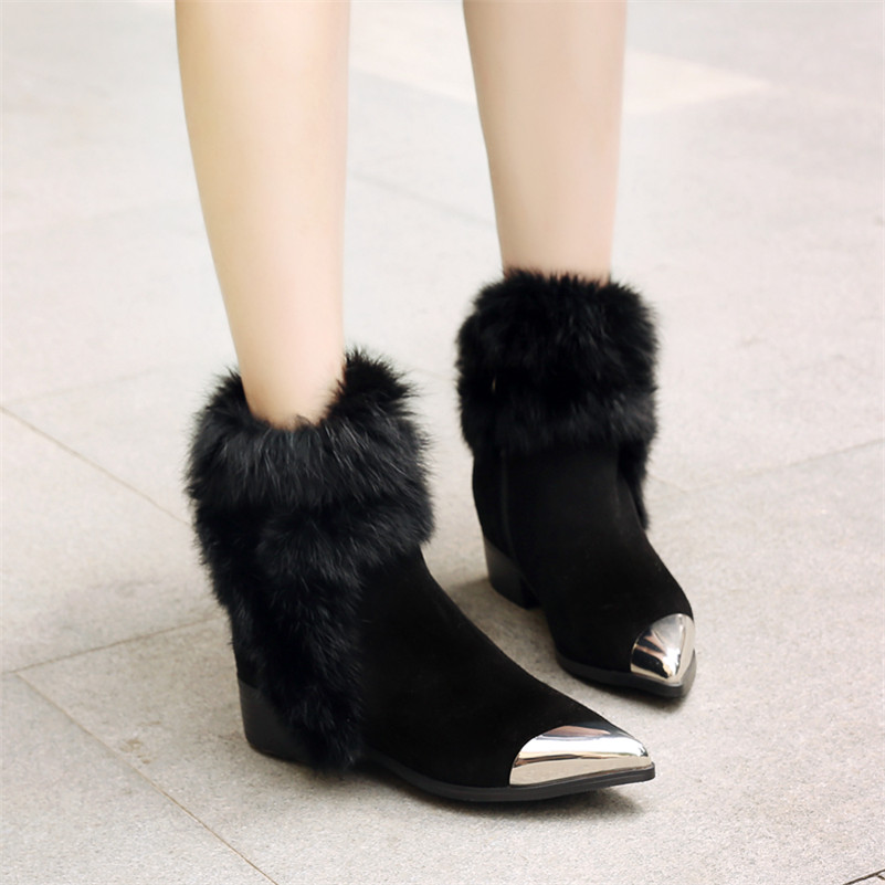 Courtes Chaud Chaussures À Hiver Fourrure Beige Cheville De Mode Noce Métal noir Sexy Femmes Talons Neige Martin Hauts Bottes Orteil Fedonas wzOa6qYzx