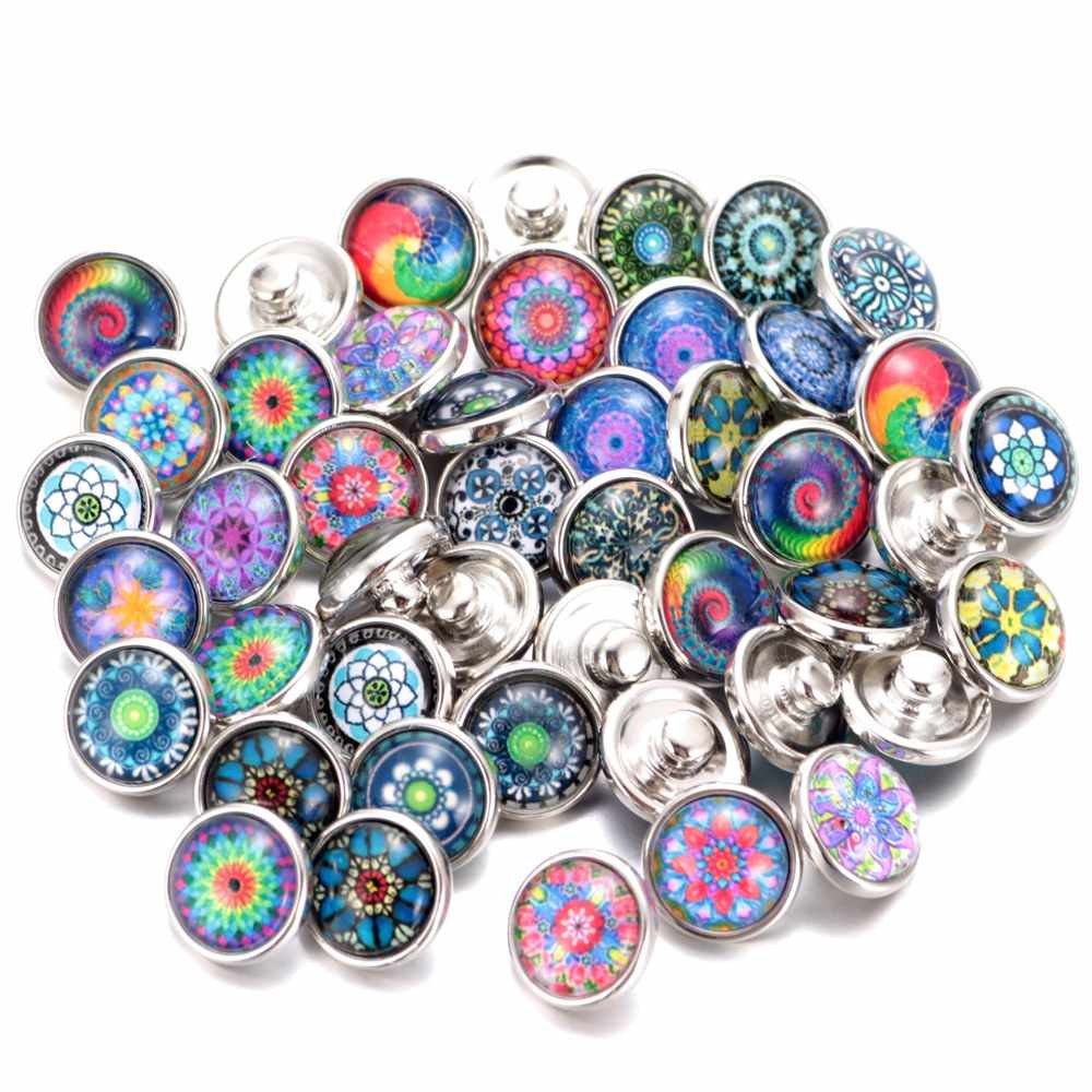 20pcs/lot Mixed Colors & pattern 12mm Glass snap button Jewelry Faceted glass Snap Fit snap Earrings Bracelet Jewelry