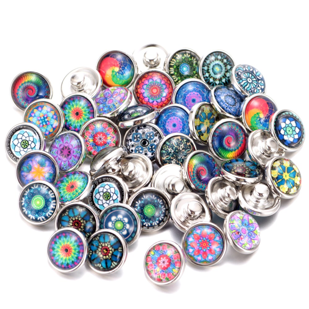 20 Teile/los Mischfarben & Muster 12mm Glasdruckknopf Schmuck Facettiertes Glas Snap Fit Snap Ohrringe Armband Schmuck