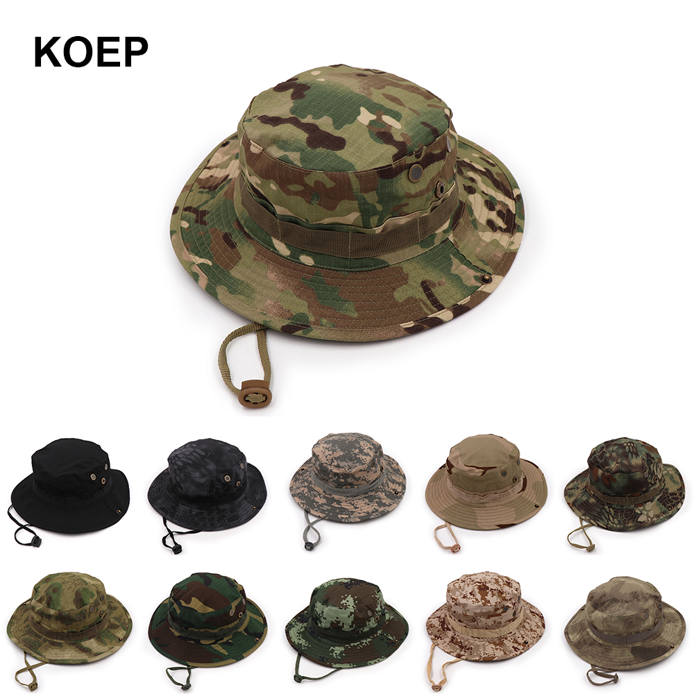 Ron Kite Camouflage Bucket Hats Caps Adjustable Boonie Hats Nepalese Caps 9 Colos Good Army Mens Fisherman Mesh Hat