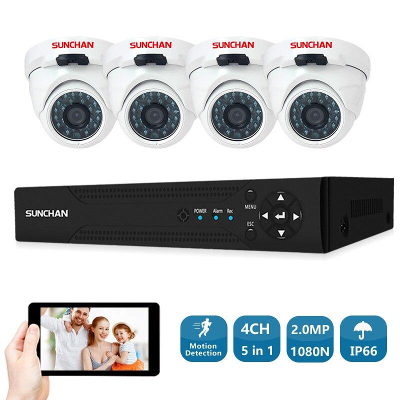 SUNCHAN 4 Canal 1080N AHD DVR 4 pcs Full HD 2.0MP 1080 p Intérieur/Extérieur Caméras de Sécurité Vidéo Système système de Surveillance à domicile