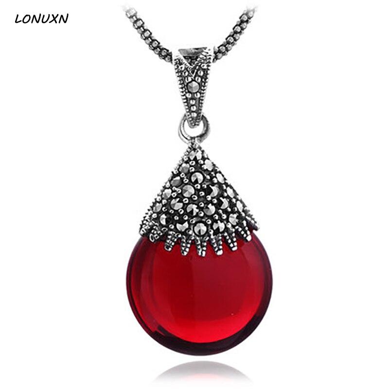 Haute qualité Naturel Pierre Rétro mignon 925 sterling collier en argent filles goutte d'eau Pétale grenat forme rouge pendentif avec chaîne
