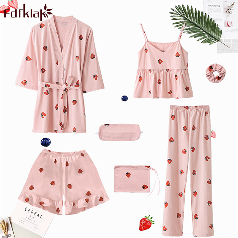 Fdfklak Sweet 7 Pcs   pajamas   women autumn winter   pajama     set   casual cotton sleepwear pijama home clothes ladies nightwear pyjamas