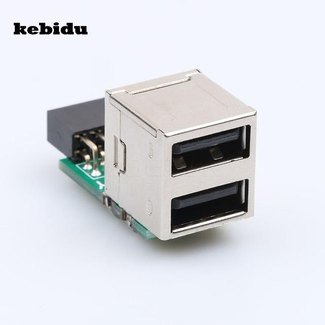 kebidu Hot 1pcs/lot USB 2.0 9Pin Female 2 Port A Female Adapter Converter Motherboard PCB Board Card Extender Internal PC