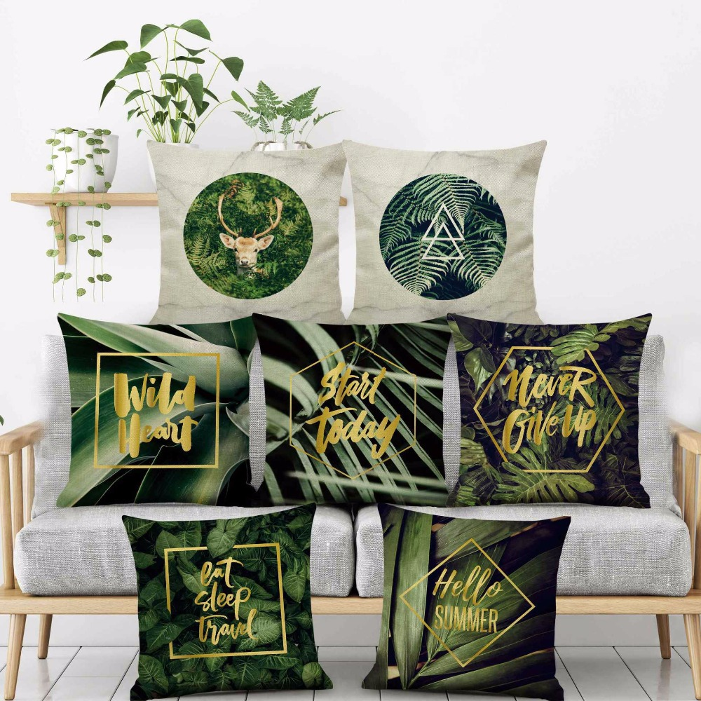 Green plant Letter Bronzing view deer Printed Cushion Cover square lumbar Deco shop seat Home Pillow case sofa Decoration gift