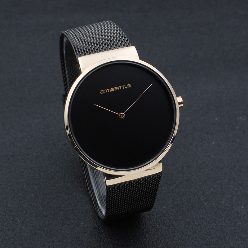 Fashion Black Business Man Watches Woman Luxury Rose Gold Simple Unisex Brand Mesh Stainless Steel Band Japan Quartz Thin 2018 top luxury brand quartz watch women simple dress casual japan rose gold stainless steel mesh band ultra thin clock female unisex