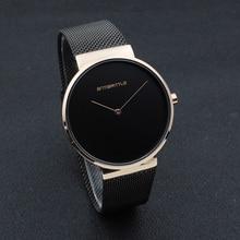 Модные черные Бизнес человек часы женские роскошные розовое золото простой мужской бренд сетки Нержавеющаясталь группа японии кварцевый тонкий 2018