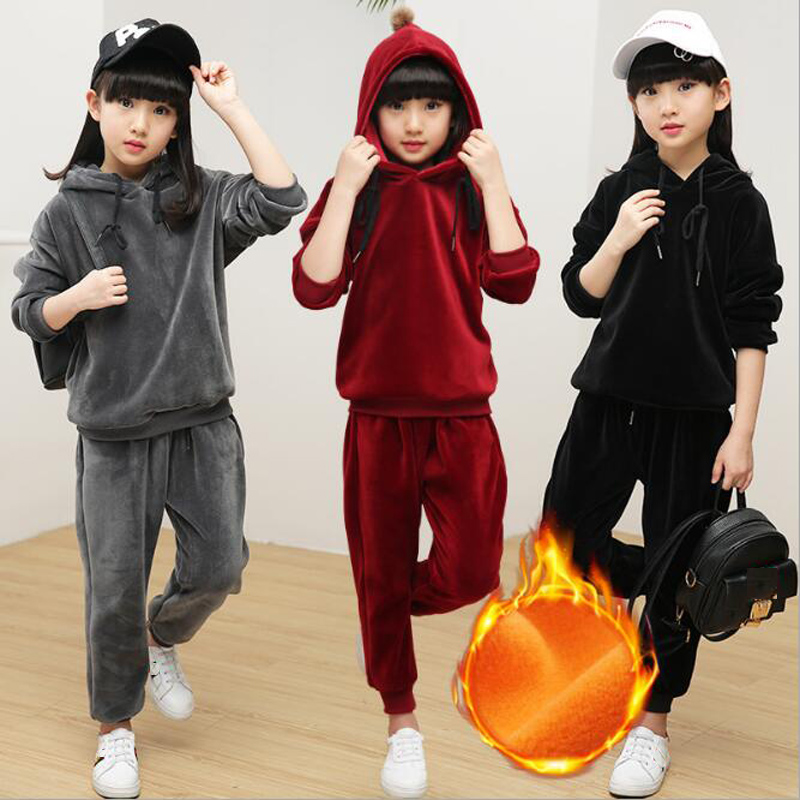 2018 Children Spring Jacket Clothing Set Big Girls Velvet Sport Suits Long Sleeve Hooded Jacket Coat+Pants Tracksuit For Girls new girls clothing set pin long sleeve cute suit 2pcs school baseball jacket pants dress children clothes tracksuit for girls