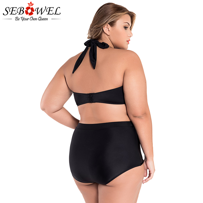 SEBOWEL Sexy Plus Size Swimwear Womens High Waist Bikini Set 19 Summer Swimsuit Sexy Large Female Bikinis Bathing Suits 5XL 14
