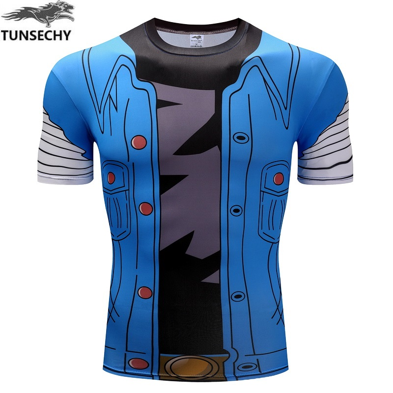 TUNSECHY Dragonball digital printing tight short sleeves T-Shirts healthy male quick dry breathable compression tight T-Shirts