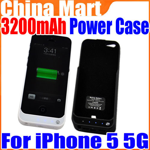 3200mAh External Power Battery Charger Case For iPhone 5 5G 5th Free Shipping + Drop Shipping