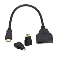 Cablecc HDMI To Dual HDMI Female Y Splitter Switch Extension Adapter Cable With Micro Mini HDMI
