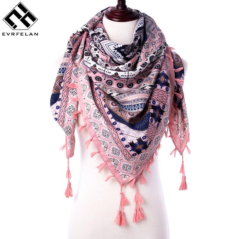 2018 neue Mode Warme Frauen Schal Platz Schals Weiblich Wraps Winter Herbst Quaste Gedruckt Mädchen Tücher Decke Schal