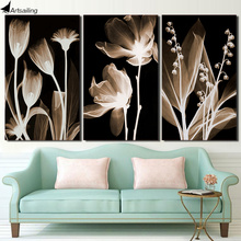 3 Panel Canvas Art Plants Flower in Dark Painting Wall Poster and Print Picture for Living Room ny-6643D