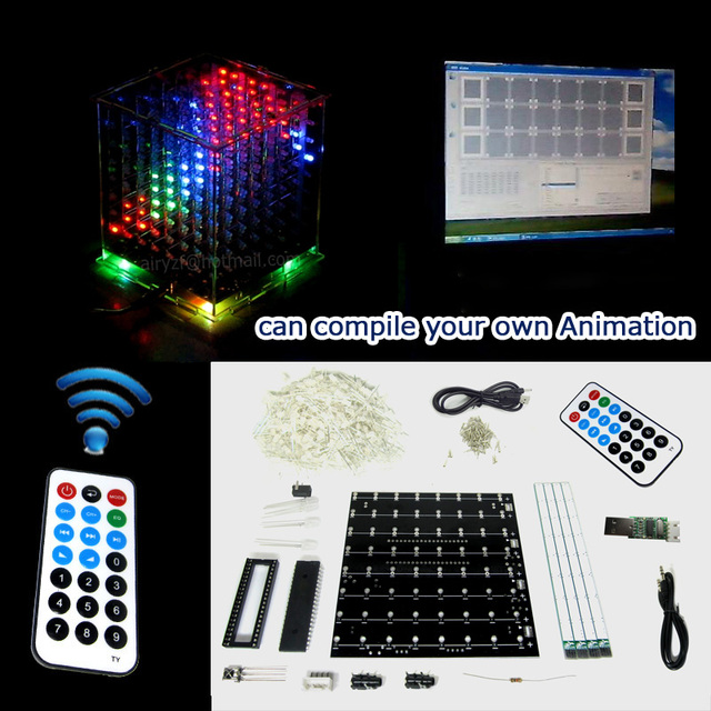 3D 8 multicolor mini light cubeeds LED DIY KIT with Excellent animation / 8x8x8 Kits/Junior support Aidrno with demo pc software